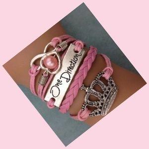 One Direction Crown Infinity Leather Charm Bracele